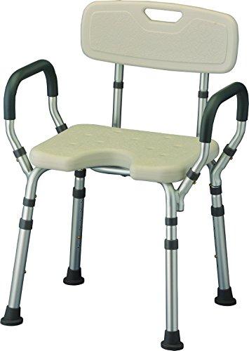NOVA Medical Products Bath Seat with Arms & U-Shaped Cutout, White, 7 Pound