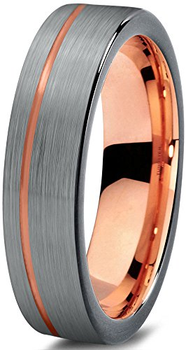 Midnight Rose Collection Tungsten Wedding Band Ring 4mm for Men Women Black & 18K Rose Gold Plated Pipe Cut Brushed Polished