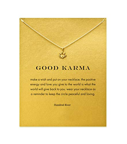 Hundred River Mom Gift Lotus Flower Necklace with Message Card Gift Card(Lotus Flower)]()