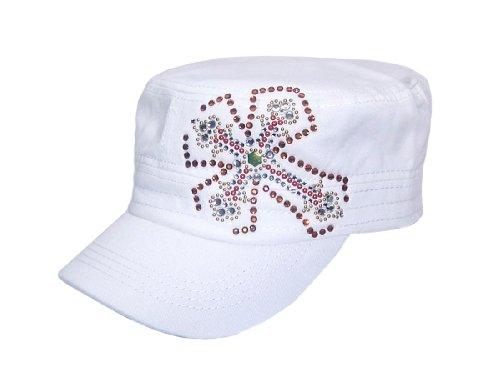 Gothic Double Crosses Rhinestone Flat Top White Hat Cap ()
