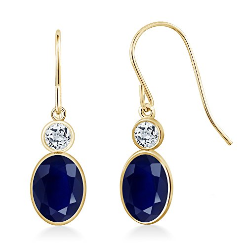 Gem Stone King 2.32 Ct Oval Blue Sapphire White Topaz 14K Yellow Gold Earrings