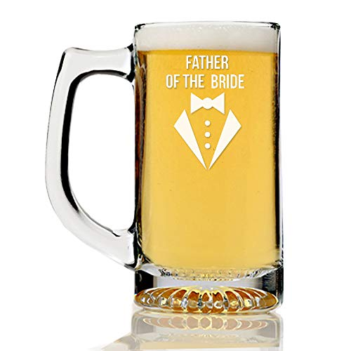 - Black Tie Collection Father of The Bride 15 ounce Beer Mug, Groomsmen Beer Glass Gift, Best Man Gift, Bridal Party Gift, Groom Beer Glass.