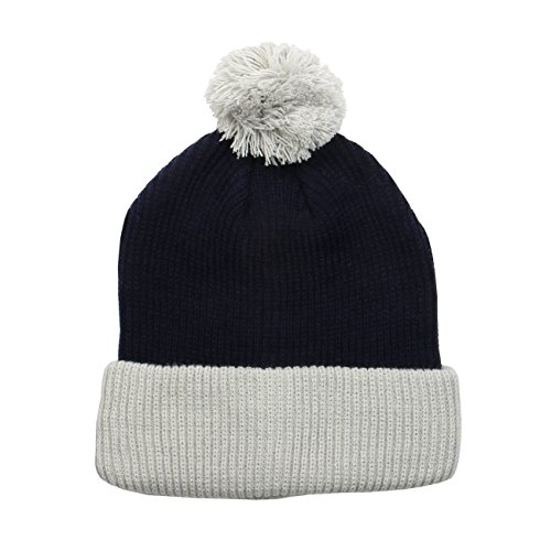 (1611MAIN The Two Tone Thick Knitted Winter Cuffed Pom Beanie (Navy/Silver))