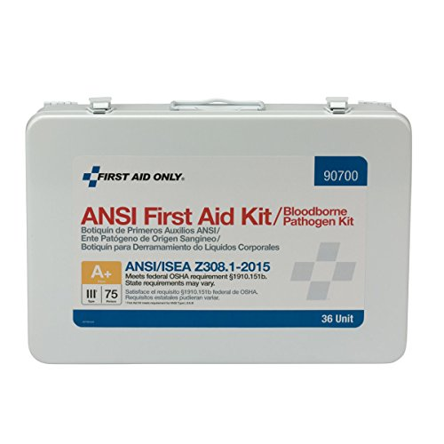 (Pac-Kit by First Aid Only 90700 36 Unit ANSI A+ First Aid Kit, Metal, Weatherproof with BBP Pack)