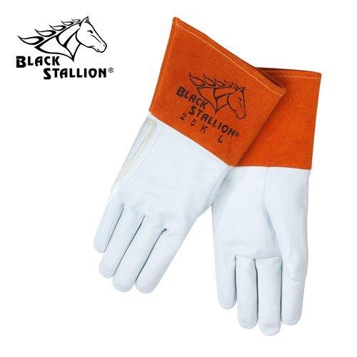Black Stallion 25K Long Cuff Prem.Grain Kidskin TIG Welding Gloves, - Leather Kidskin Long