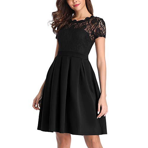 Women A-Line Vintage Bridesmaid Dress for Wedding Party Cocktail Dresses Lace Dress, Black, M