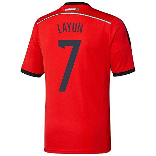 周辺テープ一晩Adidas LAYUN #7 Mexico Away Jersey World Cup 2014 YOUTH./サッカーユニフォーム メキシコ アウェイ用 ワールドカップ2014 背番号7 ラジュン ジュニア向け