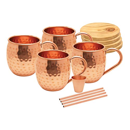 AVADOR Set of 4 Handcrafted 100% Pure Copper Moscow Mule Mugs Hammered Finish 16 Oz. Gift Set Boxed with Shot Glass, 4 Copper Straws and 4 Wooden Coasters