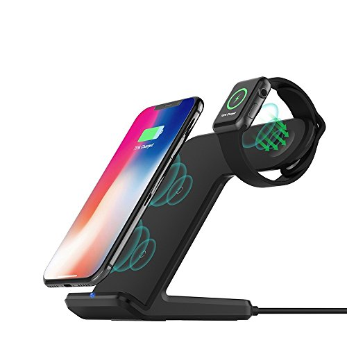 FDGAO (NOT Included Adapter) for Apple Watch Wireless Charger 2 in 1 Fast Wireless Charging Stand for Apple Watch 4/3/2/1, iPhone Xs/XS MAX/X/8 Plus, Samsung Galaxy S9/S9 Plus/S8+/S8 and More_Black