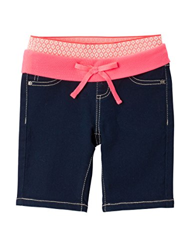 Squeeze Girl's Knit Waistband Bermuda Denim Shorts (3T, Rinse Coral)