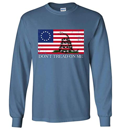 Don't Tread On Me Funny Chriss and Pratts Gadsden-Flag, America Betsy Ross Flag - Gildan Long Sleeve T-Shirt Indigo Blue (Us History And Government Second Edition Answers)