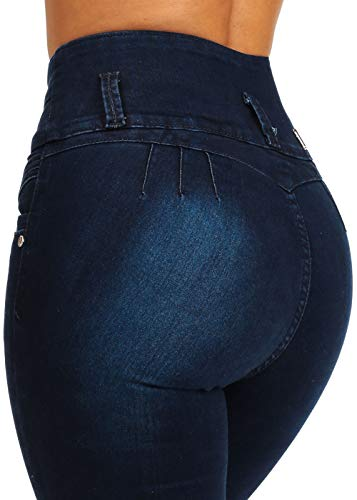 ModaXpressOnline Dark Wash High Waisted Butt Lifting 4 Button Skinny Jeans 10871T