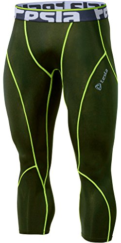 TSLA TM-P15-OLCZ_Large Men's Compression Capri Shorts Baselayer Cool Dry Sports Tights P15