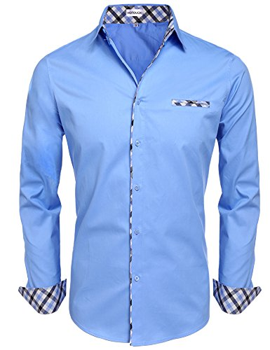 (Hotouch Men Long Sleeve Dress Shirt Casual Solid Shirts SkyBlue XL)