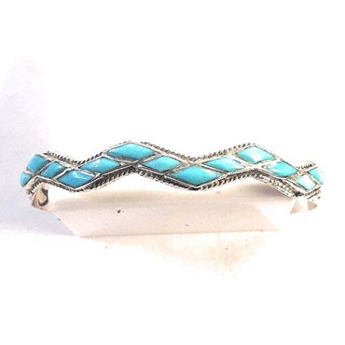 Nizhoni Traders LLC Zuni Sterling Silver and Turquoise Inlay Cuff from Nizhoni Traders LLC