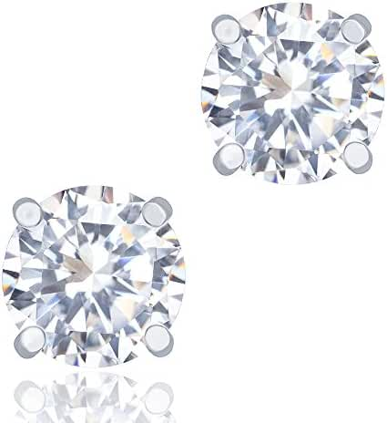 18k White Gold Plated Cubic Zirconia Round Cut Unisex Solitaire Stud Earrings (1.90 carats) by Orrous & Co.