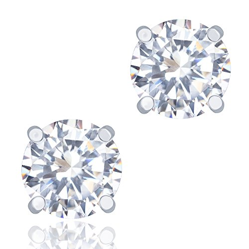 ORROUS & CO Legacy Collection 18k White Gold Plated Cubic Zirconia Cut Unisex Solitaire Stud Earrings, Round (1.90 Carats)