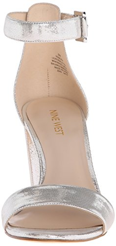Nine West Women's Nora Metallic Dress Sandal Silver 0z7nILw