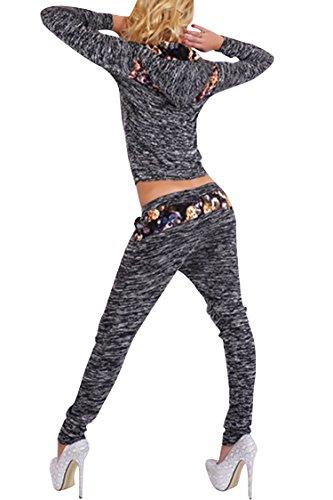 VamJump Women Zipper Long Sleeve Hoodies Sport Two Piece Outfits Pants S Black