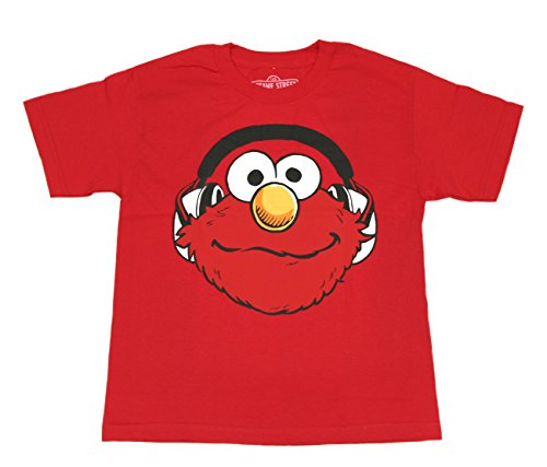 Sesame Street Boys Elmo in Head Phones T-Shirt (Red, X-Large) ()