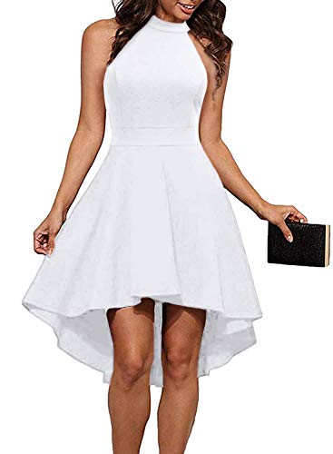 - Sarin Mathews Womens Halter Neck High Low Dresses Sexy Backless A Line Homecoming Cocktail Party Skater Dress White M