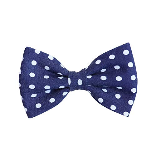 - Navy Polka Dot - Dog Cat Pet Bow Tie Bowtie Collar Accessory for Large Dogs Handcrafted Bow Tie
