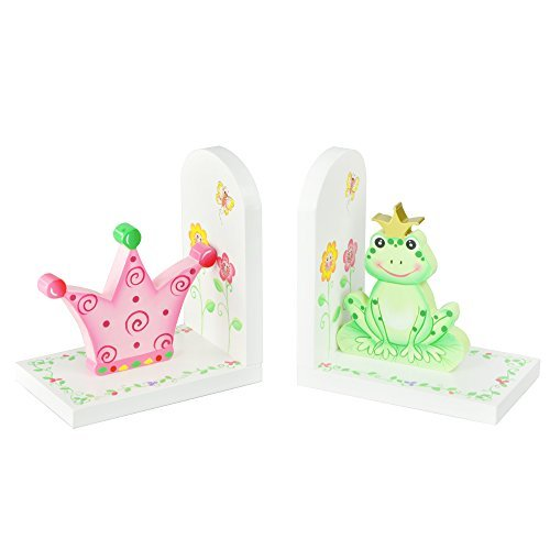Fantasy Fields Princess & Frog Kids Wooden Set of Bookends, Pink/Green