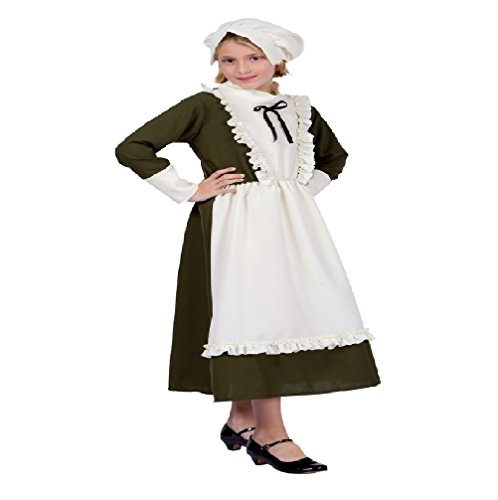 [Colonial Peasant Girl Child Costume (Child Large, Olive and Beige)] (Colonial Dress For Girls Costumes)