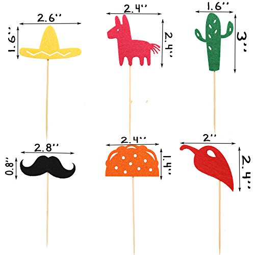 Fiesta Cupcake Toppers, Mexican Themed Cactus Donkey Taco Pepper Sombrero Mustache Party Decorations, 24 pcs by Awesome Surprise (Image #2)
