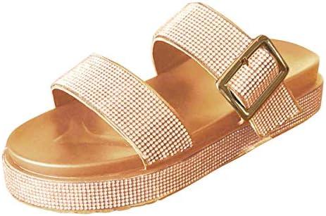 Thenxin Women`s Fashion Slide Sandals Platform Double Straps Rhinestone Comfort Slides / Thenxin Women`s Fashion Slide Sandals Platform Double Straps Rhinestone Comfort Slides