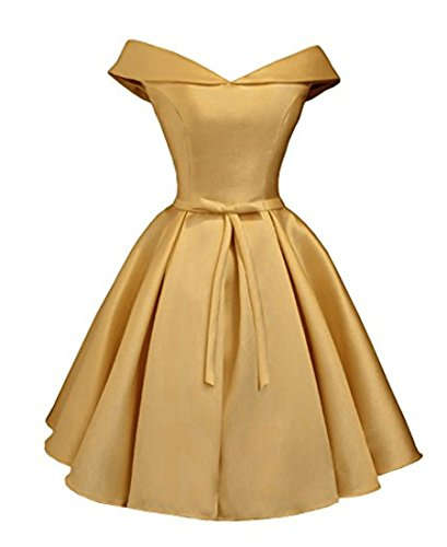 Beilite Women's Off Shoulder Satin A Line Short Homecoming Prom Dresses Gold 10 ()