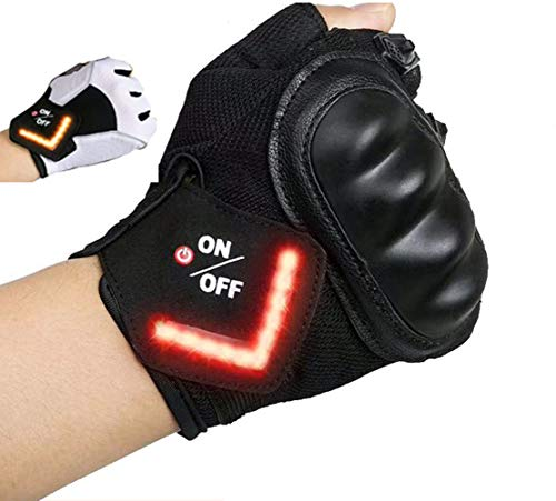Siomentdi Led Turn Signal Bike Lights in a Cycling Gloves, Cycling Gloves for Men¡¯s Half Finger Bike Gloves for Riding Road Motorcycle Outdoor Sports(Black, White)