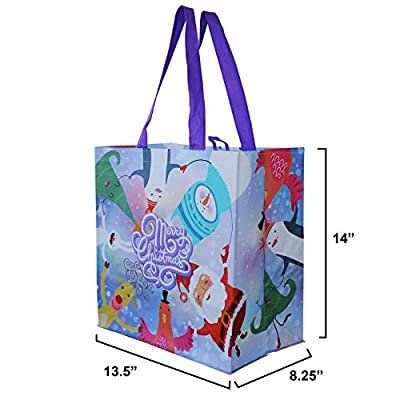 Earthwise Reusable Grocery Gift Bags with Xmas Christmas Holiday Designs (Pack of 6)