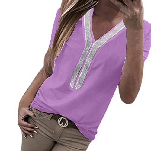 Sunhusing Women's Casual V-Neck Short Sleeve Beads Sequined Stitching T-Shirt Loose Large Size Tunic Top Purple