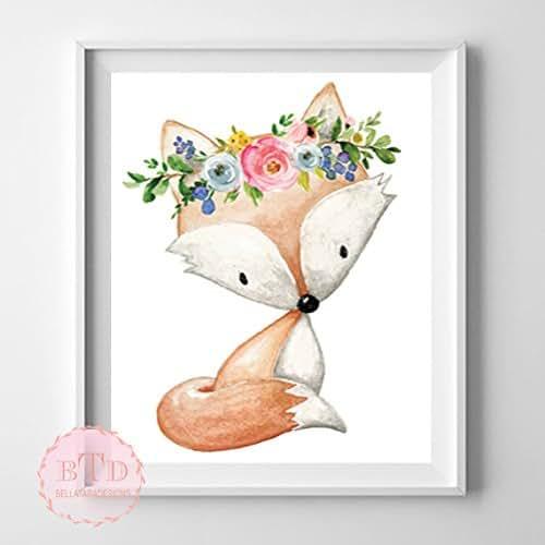 Amazon.com: Boho Fox Woodland Nursery Wall Art Print with