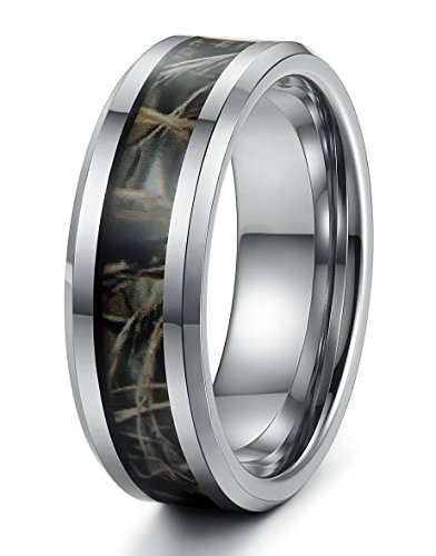 Tungary Jewelry 8mm Mens Tungsten Carbide Rings Wedding Engagement Band Camo Size 7.5