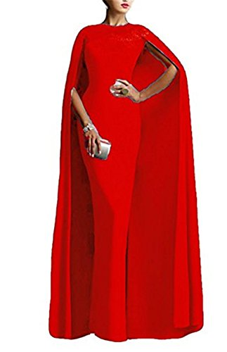 Ai maria Women's Mother Of The Bride Long Formal Party Prom Dress With Cape Illusion Neck Lace (20W, Red)