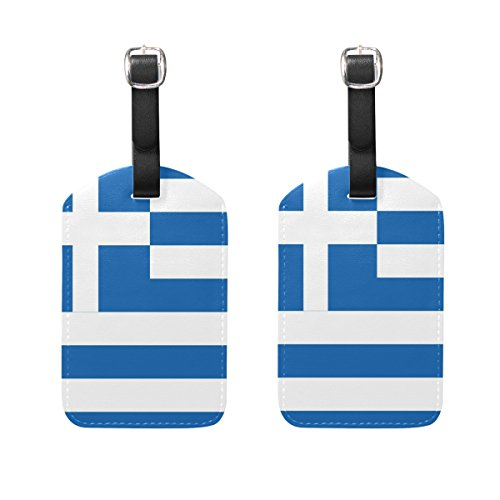 Ethel Ernest PU Leather Labels Tag Flag Of Greek Luggage Tags Travel ID Bag Tag for Baggage Suitcase, 2 Pieces ()