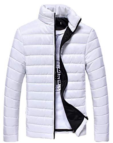 Warm Men Slim Winter Collar Stand Fit Overcoat Jacket Coat TTYLLMAO White BaSqUB