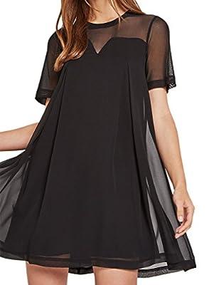 Dohia Women's Sexy Sheer Mesh Dress Short Sleeves Mini Casual Chiffon Dress