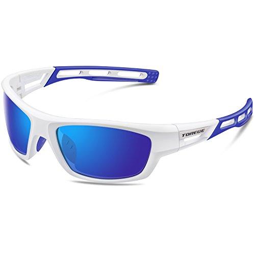 Torege Polarized Sports Sunglasses for Men Women Cycling Running Driving Fishing Golf Baseball Glasses EMS-TR90 Unbreakable Frame TR007 (White&Blue&Blue (White Contact Lenses For Sale)