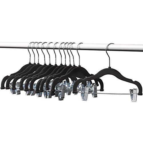 Home-it 12 PACK baby hangers with clips BLACK baby Clothes Hangers Velvet Hangers use for skirt hangers Clothes Hanger pants hangers Ultra Thin No Slip kids hangers by Home-it