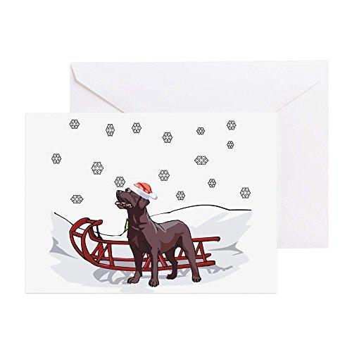 Chocolate Labrador Christmas Cards - CafePress - Sledding Chocolate Lab -