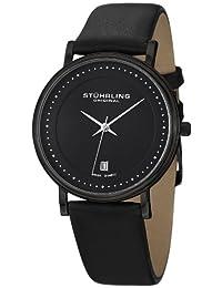 Stuhrling Original Men's 734G.03 Classic Ascot Castorra Elite Swiss Quartz Ultra Slim Date Black Watch