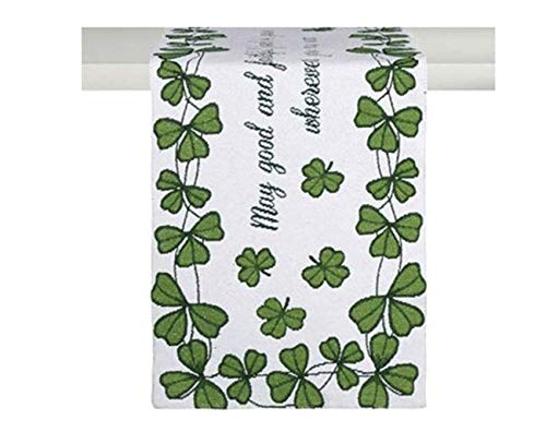 Shamrock Table Runner - Windham Home St. Patrick's Day Tapestry Table Runner, 72-Inch x 13-Inch (Irish Blessing Shamrocks)