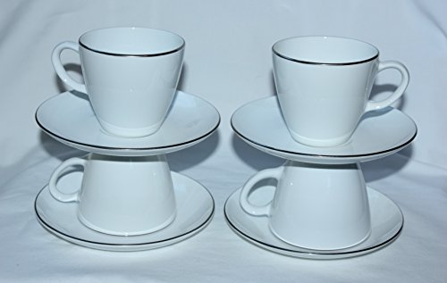 Coupe White Centura - Corning Centura White Platinum Edge Coupe Coffee Cups & Saucers- Set of 4