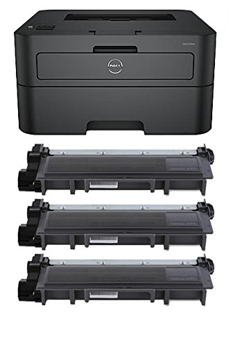 Automatic Two Sided Printing Accessory - Renewable Toner E310DW Wireless Monochrome Printer Bundle with Compatible Dell P7RMX Toner Cartridge (Black, 3-Pack)