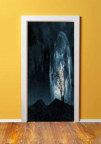 Fantasy 3D Door Sticker Wall Decals Mural Wallpaper,Night Moon Sky with Tree Silhouette Gothic Halloween Colors Scary Artsy Background,DIY Art Home Decor Poster Decoration 30.3x78.12925,Slate Blue]()