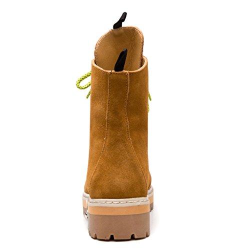 GEERBU Botas de Mujer Martin Negro Invierno Botas de Mujer Suede Botines marrón-fur