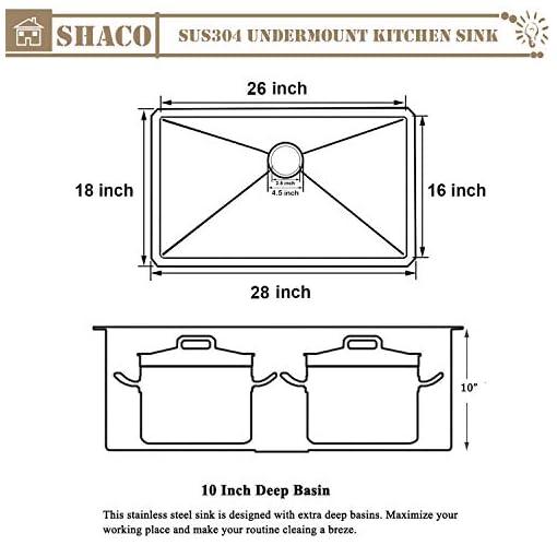 Kitchen SHACO Commercial 28″x 18″ Inch 18 Gauge Single Bowl Basin Handmade SUS304 Stainless Steel Undermount Kitchen Sink,Modern Brushed Nickel Kitchen Sinks With Dish Grid,Dish Drainer,Drain Cover modern kitchen sinks
